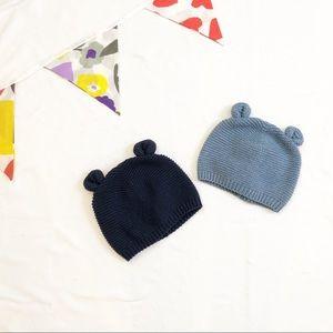 Twin Pair Gap Knit Bear Ear Hats Size 0-6 Months